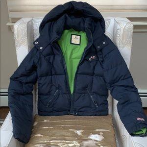 Hollister navy blue puffer jacket